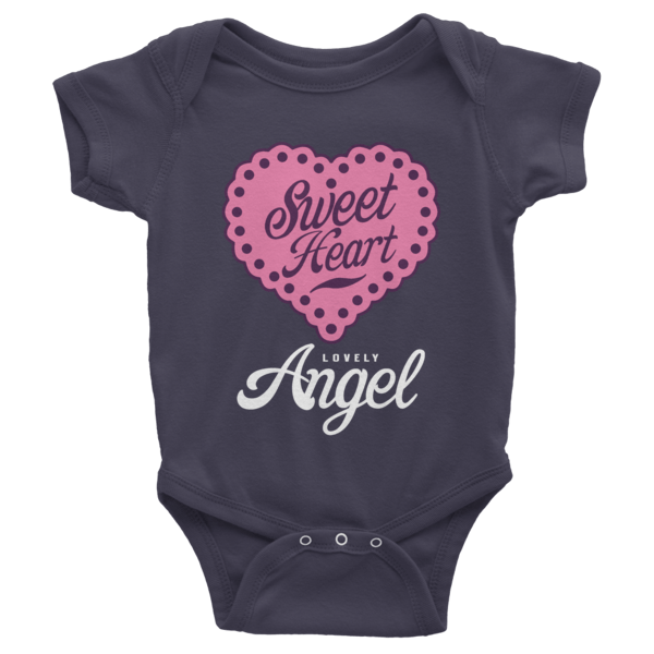 Sweet Heart Lovely Angel Short Sleeve Baby Onesies