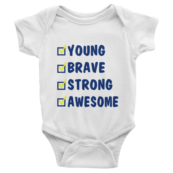 Young Brave Strong Awesome Short Sleeve Baby Onesies