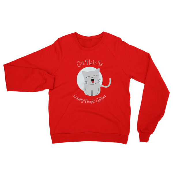 Cat Hair Glitter Sweatshirt Red
