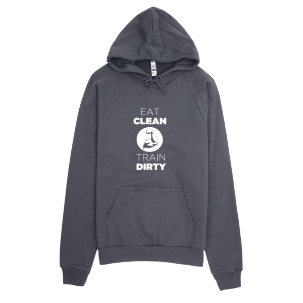 Eat Clean Train Dirty Hoodie Asphalt