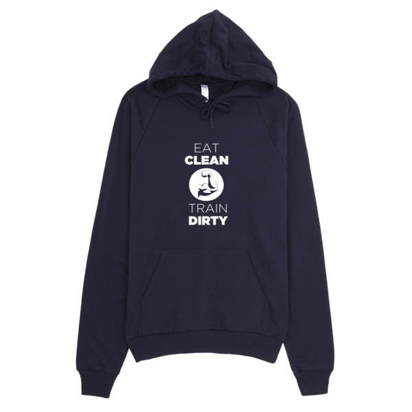 Eat Clean Train Dirty Hoodie Navy