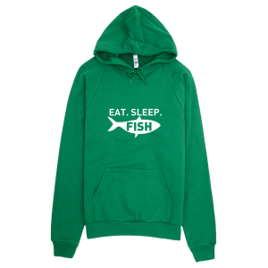 Eat Sleep Fish Hoodie Green