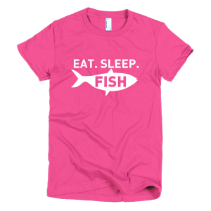 Eat Sleep Fish Womens Tee Fuchsia