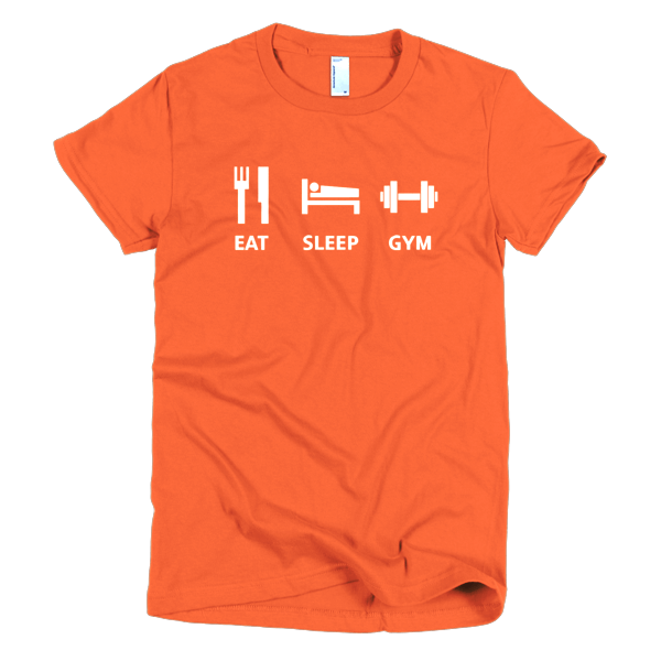 Eat Sleep Gym Womens Tee Orange