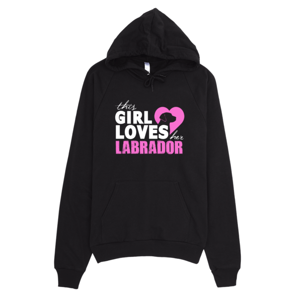 Girl Loves Her Labrador Hoodie Black