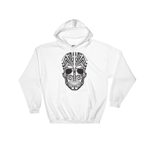 Halloween Tattoo Skull Hooded Sweatshirt White Unisex