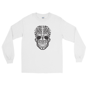 Halloween Tattoo Skull Long Sleeve T-Shirt White Unisex