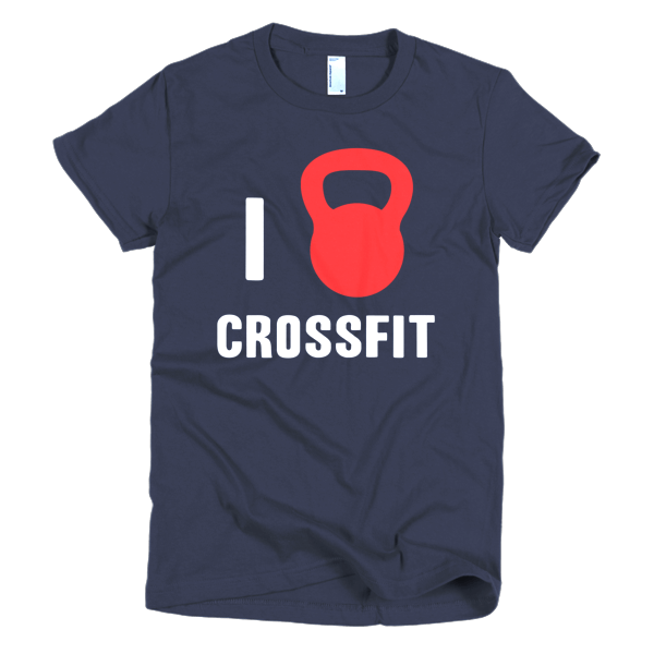 I Love Crossfit Womens Tee Navy
