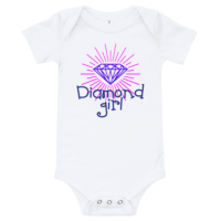 Diamond Girl Short Sleeve White Baby Onesie