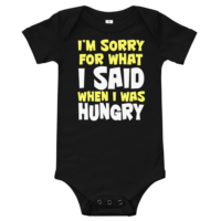 When I Was Hungry Short Sleeve Black Baby Onesie