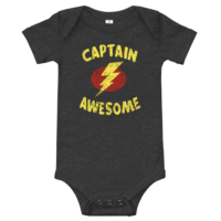 Captain Awesome Short Sleeve Dark Grey Baby Onesie