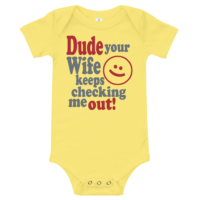 Checking Me Out Short Sleeve Yellow Baby Onesie