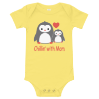 Chillin With Mom Short Sleeve Yellow Baby Onesie