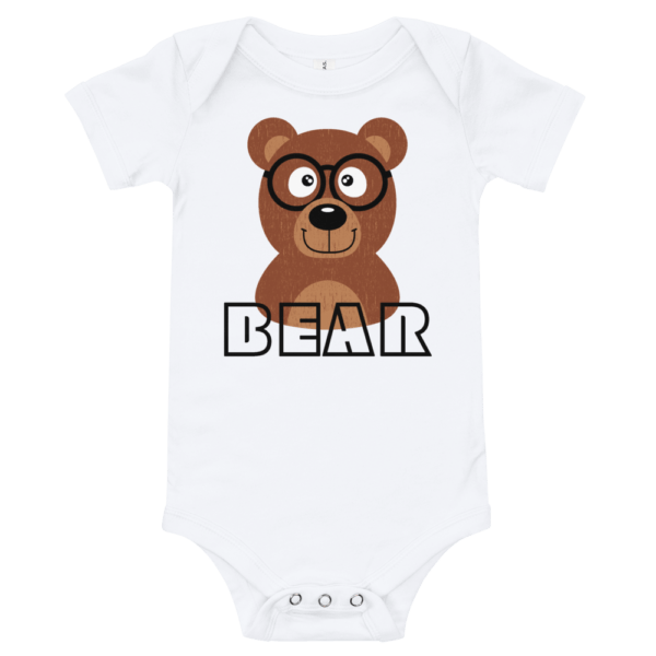 Bear Short Sleeve White Baby Onesie