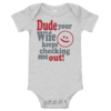 Checking Me Out Short Sleeve Grey Baby Onesie