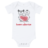 Sweet Collection Short Sleeve White Baby Onesie