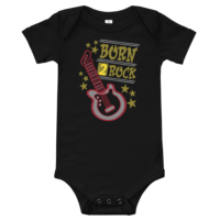 Born 2 Rock Short Sleeve Black Baby Onesie
