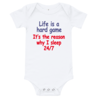 Life Is A Hard Game Short Sleeve White Baby Onesie