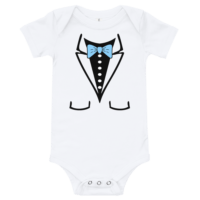 Bow Tie Short Sleeve White Baby Onesie