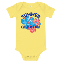 Summer California Short Sleeve Yellow Baby Onesie
