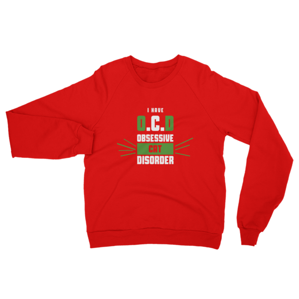 Obsessive Cat Disorder Sweatshirt Red