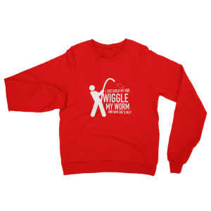 Wiggle My Worm Fishing Sweatshirt Red