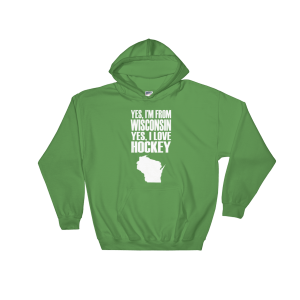 Wisconsin Hockey Love Hooded Sweatshirt Irish Green Unisex